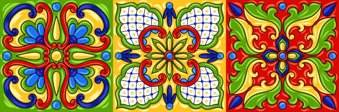 Mexican talavera ceramic tile pattern.