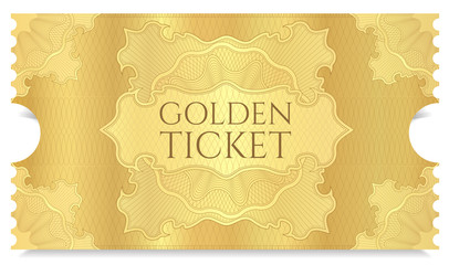 Golden cinema ticket template. Concert ticket on gold background with curve floral pattern. Useful for any movie festival, party, film, event, entertainment show