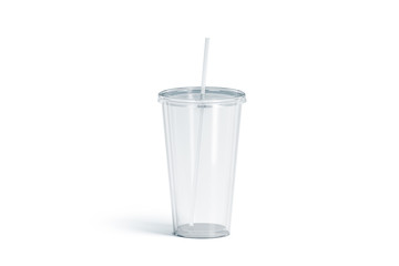Blank white transparent acrylic tumbler with straw mockup, isolated, 3d rendering. Empty cup with tube mock up. Clear take away container for drink. Plastic traveler mug for beverage template.