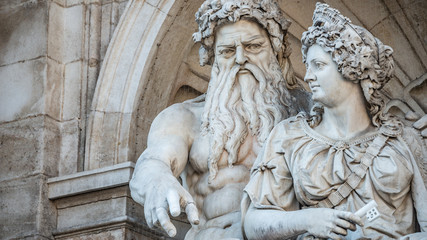 Neptune and his wife Salacia fountain near Albertina and Hofburg Palace in Vienna, Austria, details, closeup