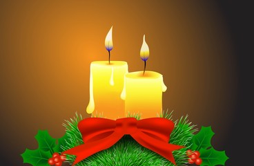 Christmas Candles with Holly Berries Fir Tree and Red Bow Illustration