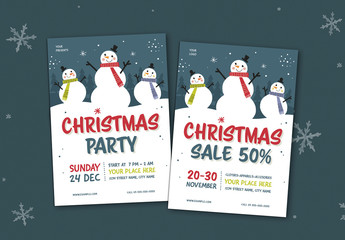 Christmas Party & Sale Flyer Layout Set