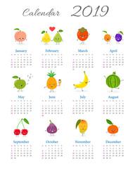Cute annual fruit calendar 2019