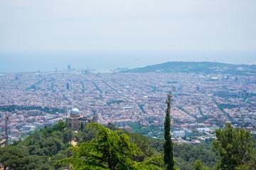 Beautyful landscape near the Temple of the Sacred Heart on Mount Tibidabo in Barcelona, Spain