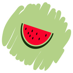 Watermelon icon isolated vector illustration on green background