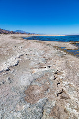 A view of Salton Sea beach in arid southern California