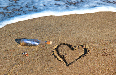 message in a bottle at the beach, with heart scratched in the sand