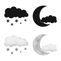 Vector illustration of weather and climate sign. Collection of weather and cloud vector icon for stock.