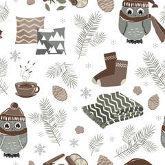 Vector seamless pattern with cute sport owls and fir trees