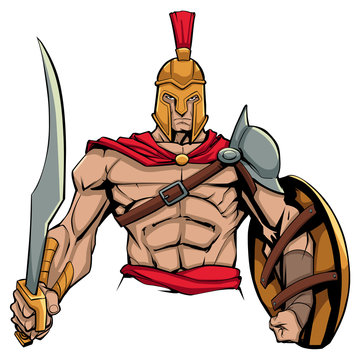 Illustration of Spartan warrior holding sword and shield, ready for battle.