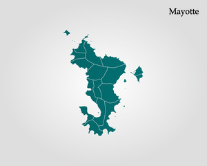 Map of Mayotte. Vector illustration. World map