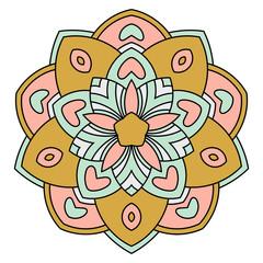 Colorful mandala. Ornamental round doodle flower isolated on white background. Geometric circle element. Vector illustration.