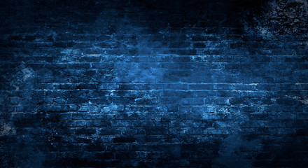 Photo sur Aluminium Brick wall Empty background of old brick wall, background, neon light