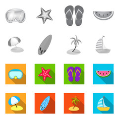 Vector design of equipment and swimming sign. Set of equipment and activity vector icon for stock.