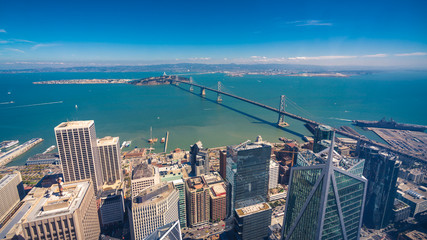 Fototapete - Aerial cityscape view of San Francisco-Oakland Bay Bridge from the Salesforce Tower