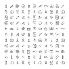 Set of health thin line icons.