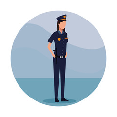 Woman police officer Job worker