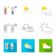 Vector illustration of weather and climate icon. Set of weather and cloud stock vector illustration.