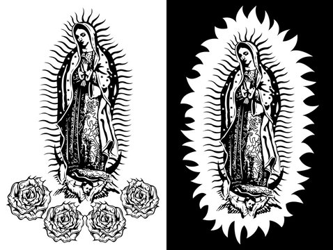 Virgin of Guadalupe, Mexican Virgen de Guadalupe black and white vector illustration