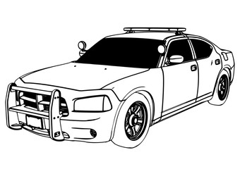 police car sketch vector