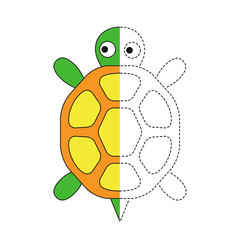 drawing worksheet for preschool kids with easy gaming level of difficulty. Simple educational game for kids. Illustration of turtle for toddlers