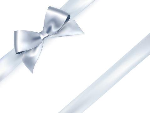 Shiny satin ribbon on white background. Vector silver bow