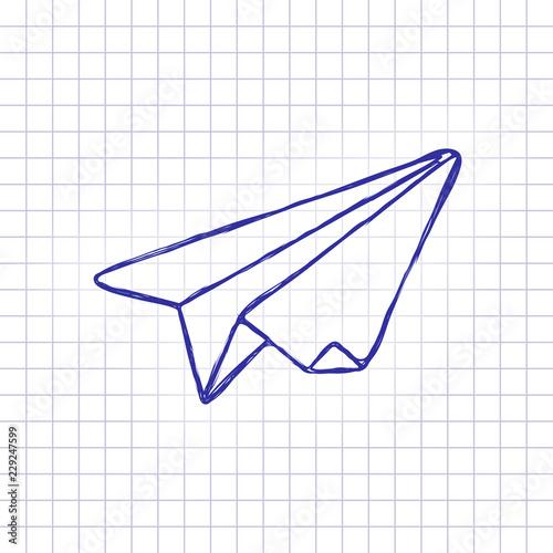paper plane  origami glider  Hand drawn picture on paper