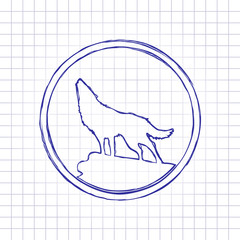 wolf. simple icon. Hand drawn picture on paper sheet. Blue ink, outline sketch style. Doodle on checkered background