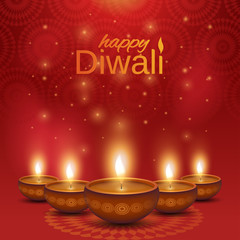 Happy Diwali poster. Shiny oil lamps diya on abstract background. Vector illustration.