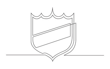 continuous line drawing of shield label