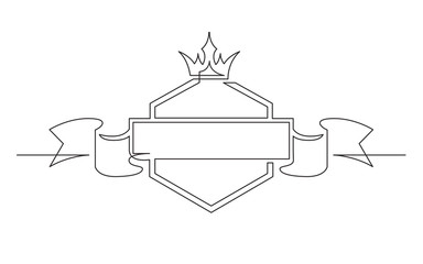 continuous line drawing of shield crown and ribbon label