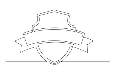 continuous line drawing of shield and ribbon label