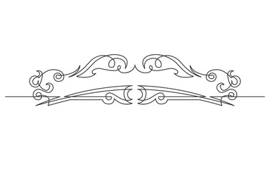 continuous line drawing of symmetrical vignette banner design