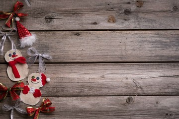 Christmas background on the wooden