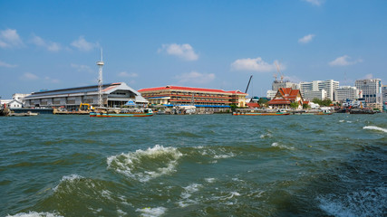 Busy Terminal As Different Line Of Ferry Boats Congregating At The Same Spot On The Chao Phraya River