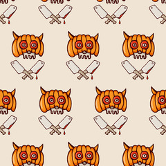 Halloween skull in a pumpkin helmet and cleavers seamless pattern