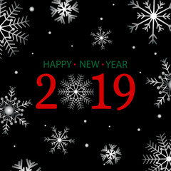 2019 happy new year vector background card design