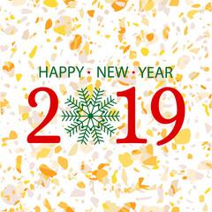 2019 golden happy new year vector background card design
