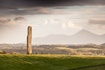 Millenium Stone Megalith with Mourne Mountains in Distance Wall mural