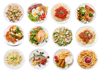 Wall Murals Ready meals various plates of food isolated on white background, top view
