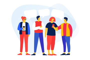 Young cartoon men and women talking to each other, discuss news, social networks. People with dialogue speech bubbles on light background. Vector flat illustration.