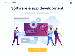 Landing page template. Concept of software development and applications. Team of young cartoon staff is working on programming site. Cooperation in web agency. Vector flat illustration.
