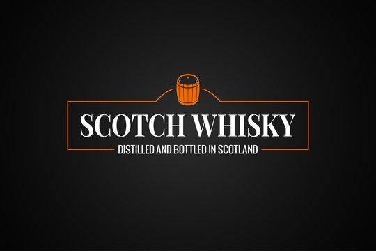 Scotch whisky banner. Whiskey barrel sign on black background
