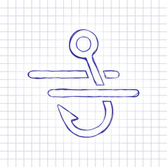 Fishing hook and water. Simple icon. Hand drawn picture on paper sheet. Blue ink, outline sketch style. Doodle on checkered background