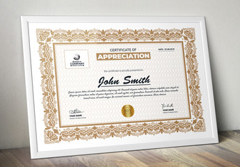 Certificate of Appreciation Layout with Ornate Border
