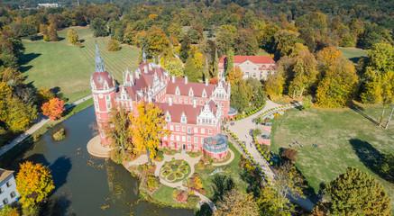 Przepiękny zamek i ogrody - Fürst Pückler Park w Bad Muskau - z lotu ptaka