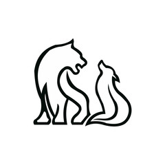 tiger wolf outline line art inspiration logo vector icon