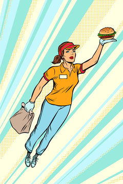 waitress Burger fast food delivery flying superhero help