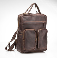 brown nubuck leather men casual bag with  patch pockets