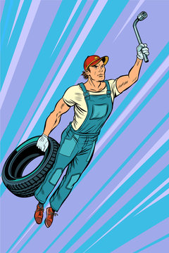 man mechanic tire. flying superhero help